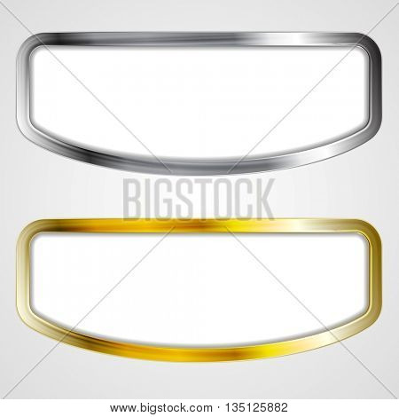 Abstract silver and golden frames design. Raster copy