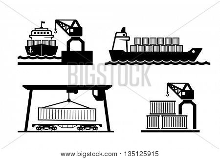Container logistics icons set  // Black & White