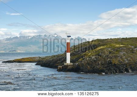 Little lighthouse in the Beagle-Channel Ushuaia Tierra del Fuego Argentina South America