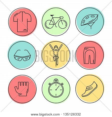Set of 9 Bicycle Race modern linear icons. Black outline templates of cycling in colorful circles isolated on white. Bicycling elements and accessories made in trendy thin line style vector.