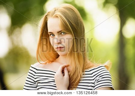Close-up Of Thoughtful Girl Looking