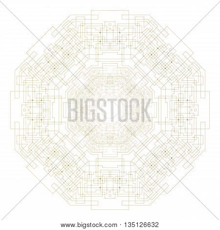 Abstract round technology pattern isolated on white background, golden mandala template with connecting lines and dots, connection structure. Digital scientific vector.