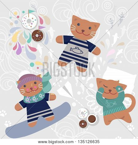 Seamless pattern with cute cats. wrapping paper