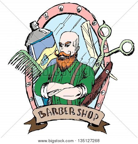 Barber shop. Vector. Drawn by hand. Items for hairdressers.
