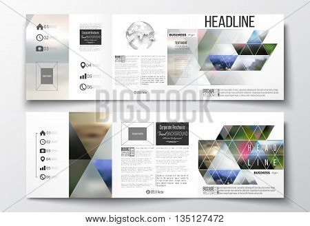Set of tri-fold brochures, square design templates with element of world globe. Abstract colorful polygonal background, natural landscapes, geometric, triangular style vector illustration