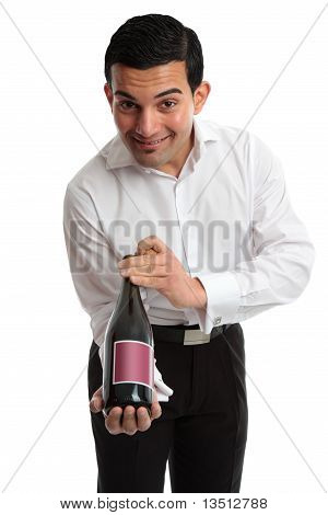 Waiter Or Servant Presenting Wine