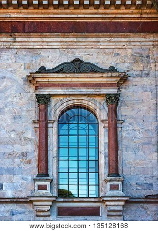 The old style window of Saint Isaac's Cathedral in St.Petersburg Russia.