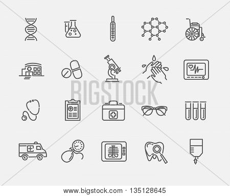 Thin lines web icon set . Medicine and Health