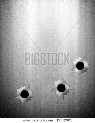 bullet holes in metal plate