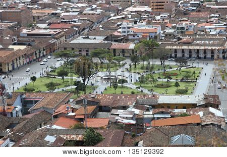 Cajamarca Peru - June 18 2016: High Angle view looking east of the Plaza de Armas Town Square in Cajamarca Peru on June 18 2016