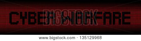 Cyber Warfare text on red laptops background illustration