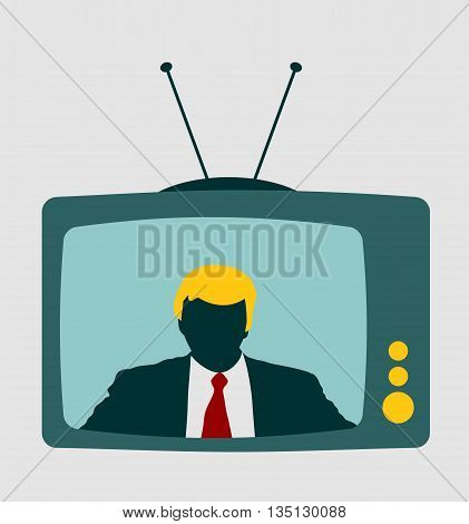 Television set broadcasting the news with an reporter. Vector flat design illustration.