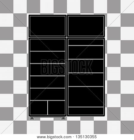 Black refrigerator Icon vector on a transparent background