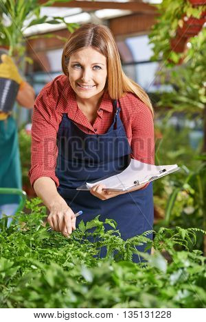 Gardener with clipboard in garden center checking growth of plants