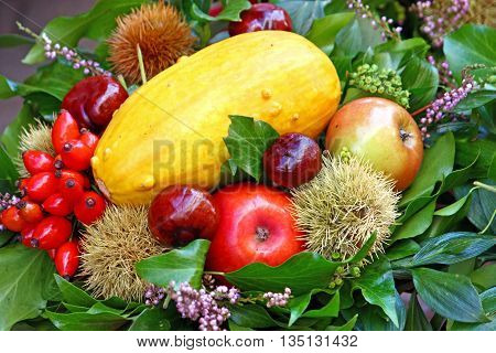 Autumn decorations with gourds chestnuts apples hips and green leaves