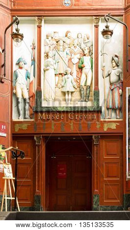 Paris France-June 18 2016: The entrance into Grevin waxwork museum located at 10 boulevard Montmartre in Paris.It was founded in 1882 it is one of the oldest wax museums in Europe.