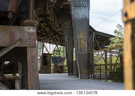 industrial construction scaffolding stay bridge on sunny day