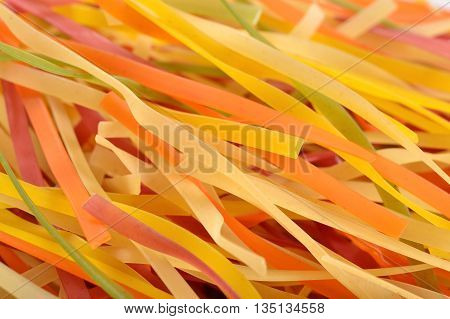Colored Uncooked Italian Pasta Tagliatelle Close Up