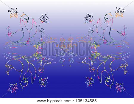Colorful duck and duckling are reflecting in the lake. Vector illustration.