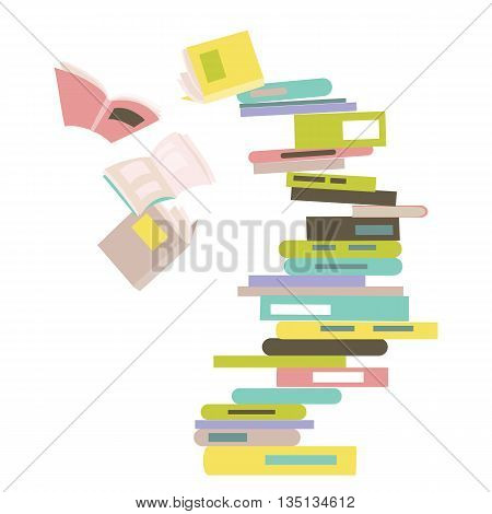 Falling stack of books. Vector isolated illustration