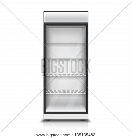 Modern vertical refrigerator for cooling drinks realistic isolated vector Illustration