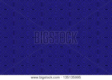 Illustration of repetitive dark blue and black spirals