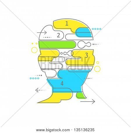 Brain, Creative mind, man head, learning and design infographics