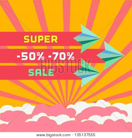 Paper plane. Super sale Concept. Sale poster, banner. Special offer, Discounts, bonus. Marketing campaign. Vector illustration
