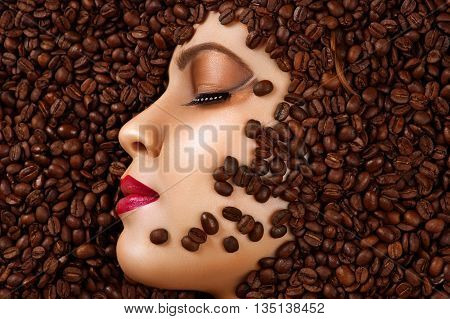 beauty profile face with makeup in coffee beans