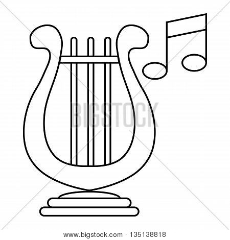 Lyre and two notes icon in outline style on a white background