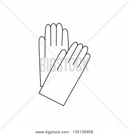 Pair of white cotton gloves icon in outline style on a white background