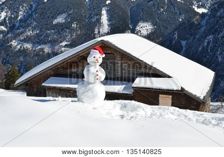 Snowman in the Alps