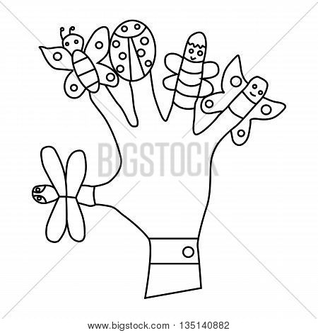 Hand wearing finger puppets, butterflies, ladybug icon in outline style on a white background