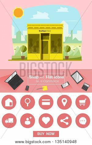 Shop and flat icons for e-commerce Boutique store, vector, illustration