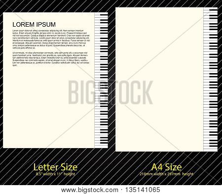 Letterhead Design, Piano Keyboard in Letter Size and A-4 Size