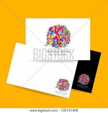 Language school logo template. Concept business card design for Language School, translation, linguistic center, language teachers, international communication club. Vector.
