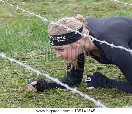 STOCKHOLM SWEDEN - MAY 14 2016: Blonde woman crawling below a barb wire obstacle on the grass in the obstacle race Tough Viking Event in Sweden May 14 2016