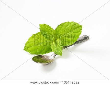 leaves of lemon balm and teaspoon on white background