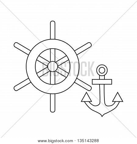 Ship wheel and anchor icon in outline style on a white background