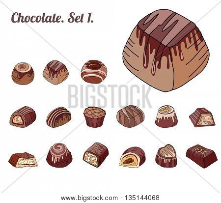 Set with different chocolate candies isolated on white. Milk,dark,white chocolate. For your design, announcements, cards, posters, restaurant menu.