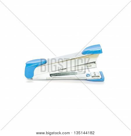 Closeup blue stapler office equipment isolated on white background with clipping path