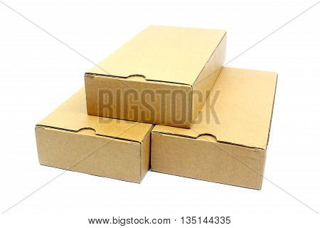 The three cardboard boxes on white background