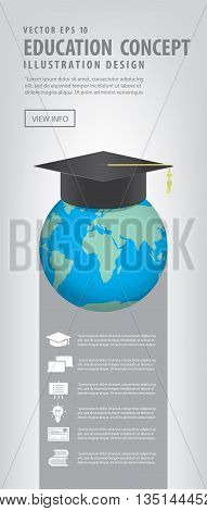 Illustration vector Banner World with a Graduation hat on top. Means education is recognized by people all over the world .