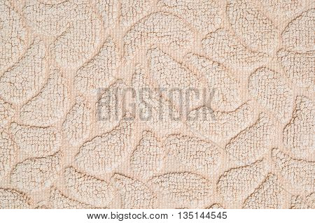Closeup surface fabric pattern at old brown fabric mat texture background