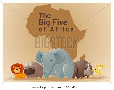 Wild African animal background Big five,vector, illustration