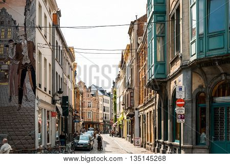 BRUSSELS, BELGIUM - June 16, 2016. Street view of old town in Brussels city, with a population of over 1.8 million, the largest in Belgium.