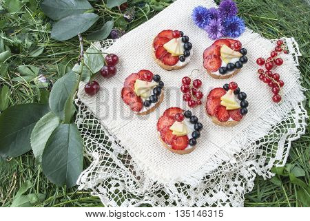 Crispy bread for breakfast for a healthy diet with strawberries and currants, wholesome food.