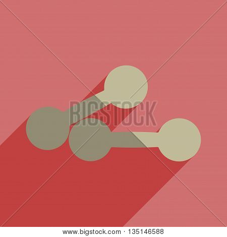 Flat icons with shadow of athletic dumbbell. Vector illustration