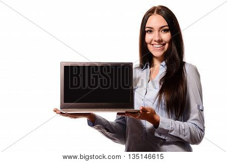 Cute Charming Woman Showing Laptop Computer Screen