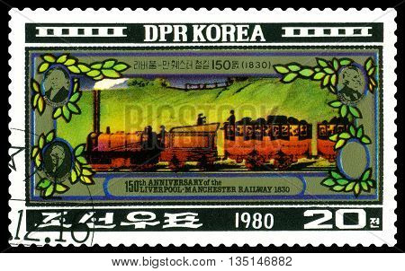 STAVROPOL RUSSIA - APRIL 29: A Stamp printed in the DPR Korea shows Liverpool-Manchester Railway 150th anniversary circa 1980